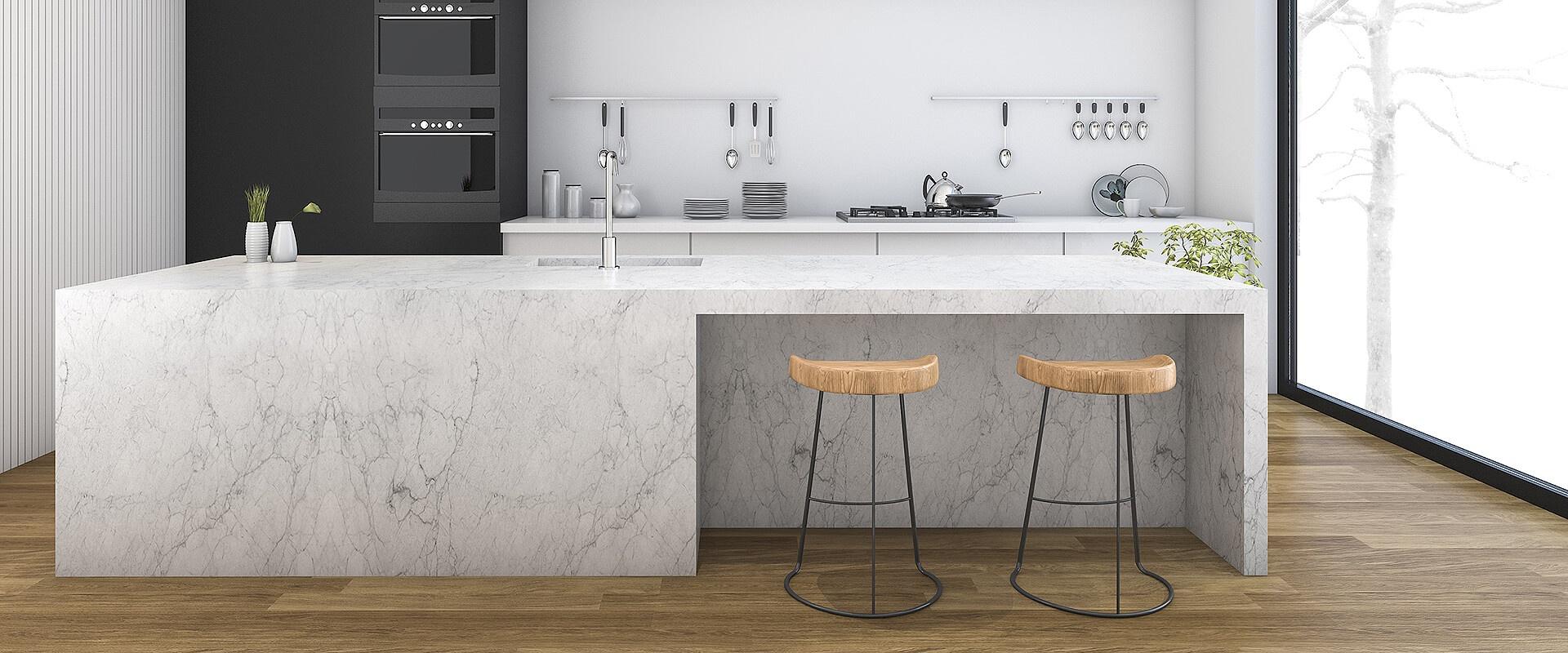 White Marble And Ceramic Modern Minimalist Kitchen Design Idea Ciot
