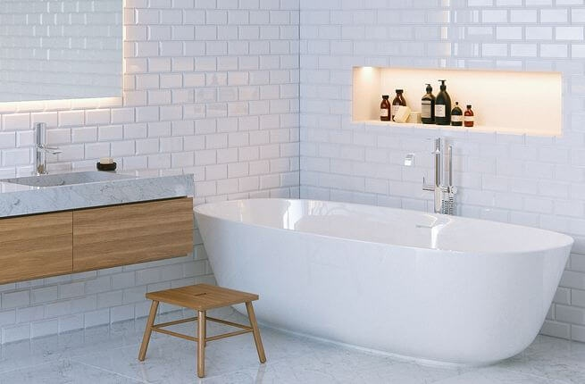 Modern and minimalist bathroom